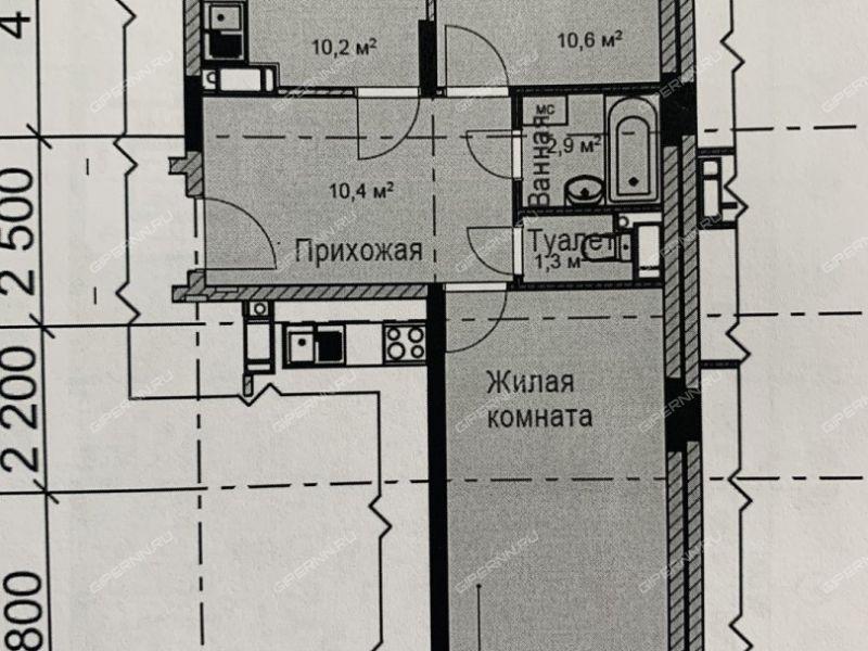 двухкомнатная квартира в границах улиц имени Маршала Рокоссовского, Генерала Ивлиева, Казанское шоссе, дом №24
