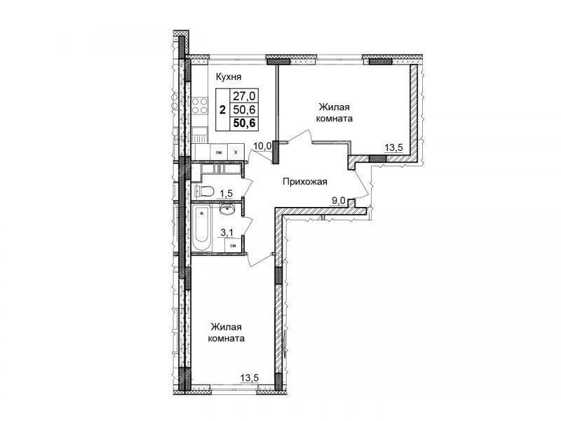 двухкомнатная квартира в границах улиц имени Маршала Рокоссовского, Генерала Ивлиева, Казанское шоссе, дом №23